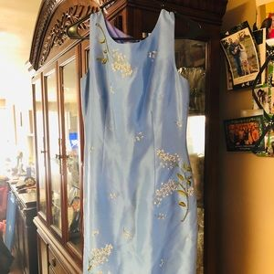 Ann Taylor Light Blue Flowered Dress SZ 2